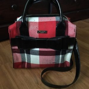 Kate Spade Plaid Barrel Bag with Patent Bow Detail